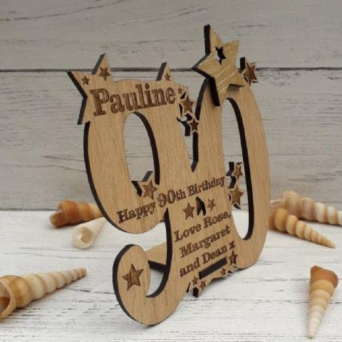 Personalised Ninetieth 90th Birthday Celebration Card Oak Wooden Keepsake Gift